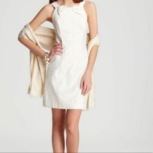 Lily Pulitzer Gold White Henley Bow Shimmer Dress
